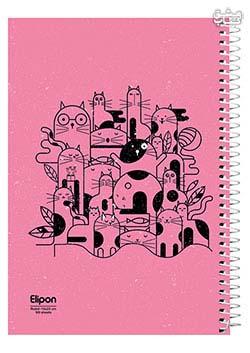 دفتر 100 برگ تک خط وزیری سیمی جلد نرم مجلد الیپون 2413236